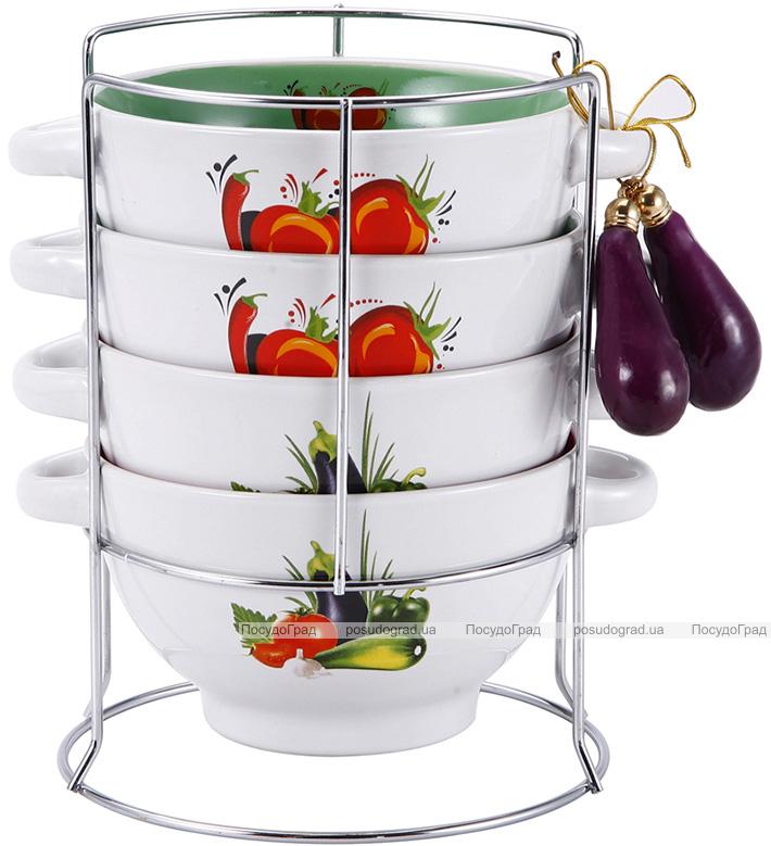 Набор пиал-бульонниц Wellberg Овощи Mix-І 680мл на подставке