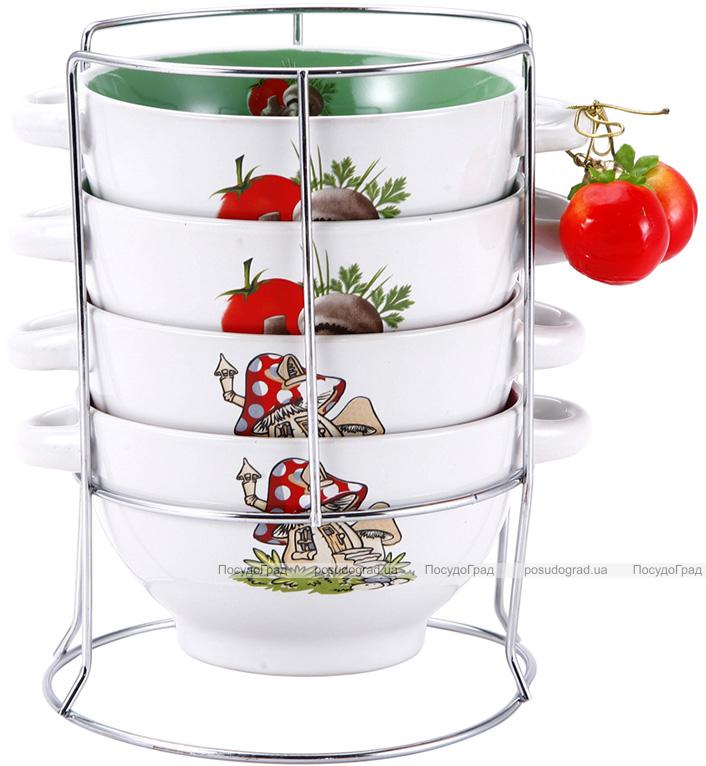 Набор пиал-бульонниц Wellberg Овощи Mix-ІІ 680мл на подставке