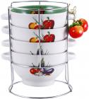 Набор пиал-бульонниц Wellberg Овощи Mix-ІІІ 680мл на подставке