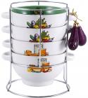Набір піал-бульйонниць Wellberg Овочі Mix-ІV 680мл на підставці