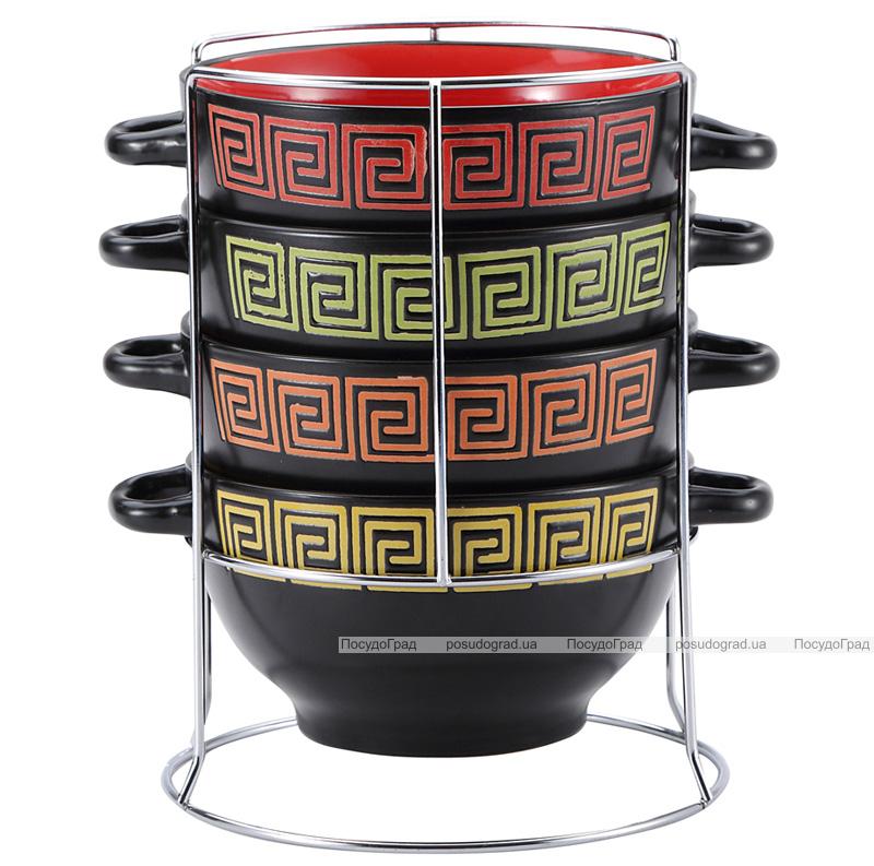 Набор мисок Wellberg Vertigo 4 керамические пиалы 680мл с ручками на подставке