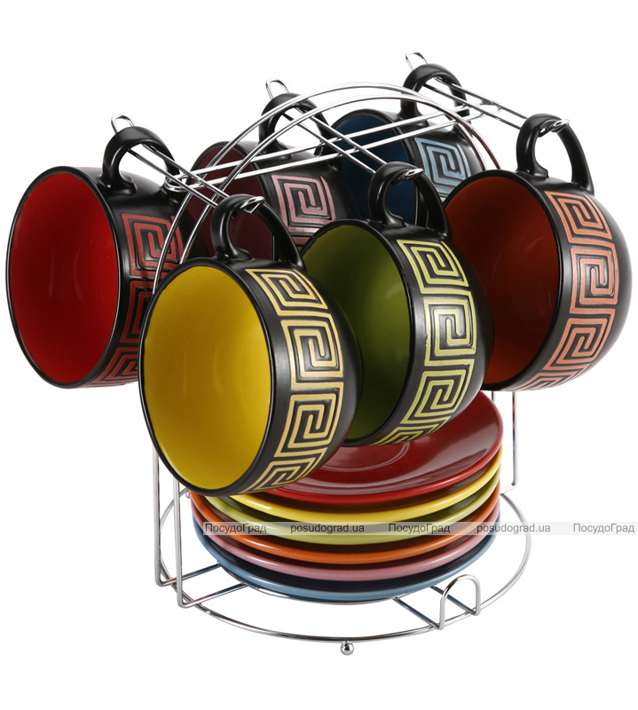 Чайный набор Wellberg Vertigo 240мл 13 предметов на подставке