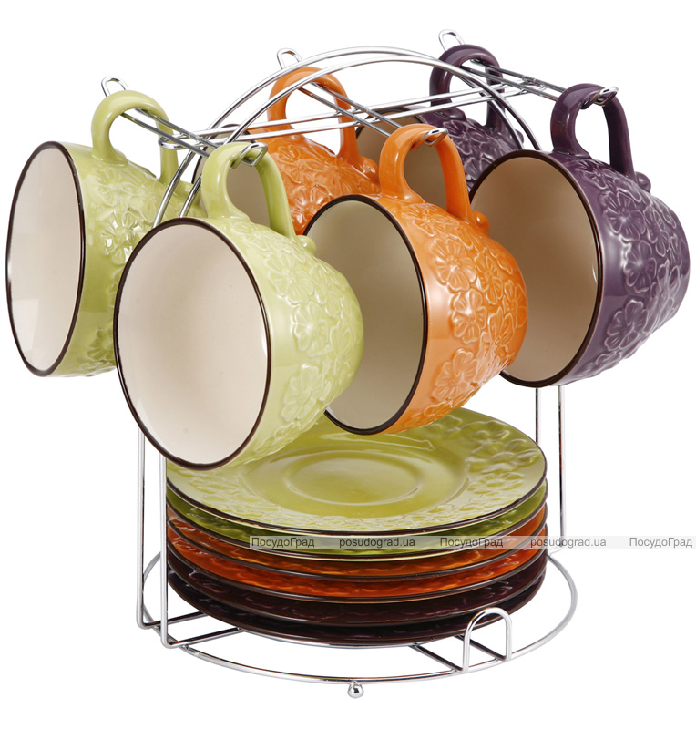 Чайный набор Wellberg Expression 220мл 12 предметов на металлической подставке