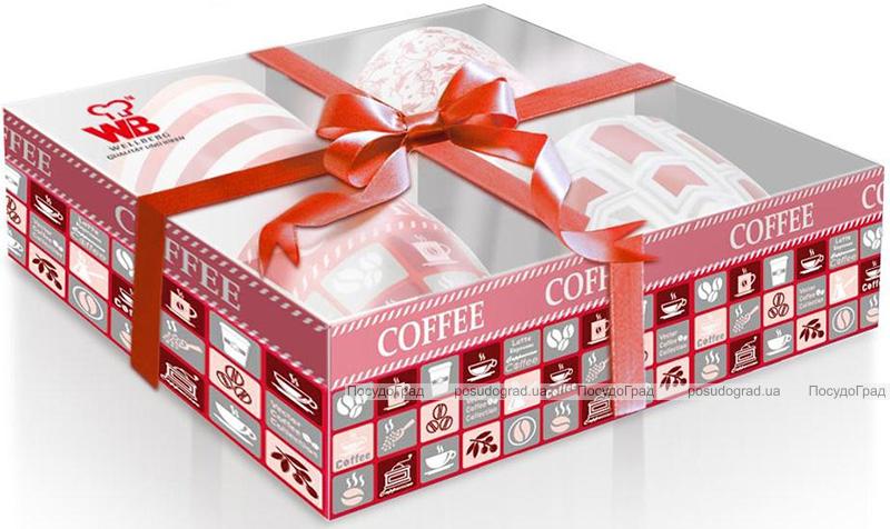 Набор 4 кружки Wellberg Beatrice Coral 330мл, фарфор в подарочной коробке