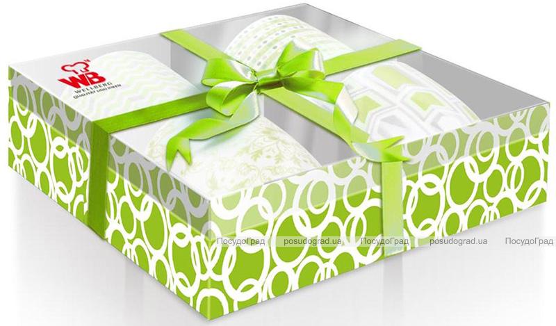 Набор 4 кружки Wellberg Beatrice Green 330мл, фарфор в подарочной коробке