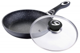Сковорода Wellberg Titan Marble Ø26см с крышкой и антипригарным покрытием