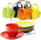 Чайний набір Wellberg Glamour 6 чашок 220мл і 6 блюдець на підставці