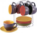 Чайный набор Wellberg Kaleidoscope 6 чашек 220мл и 6 блюдец на подставке