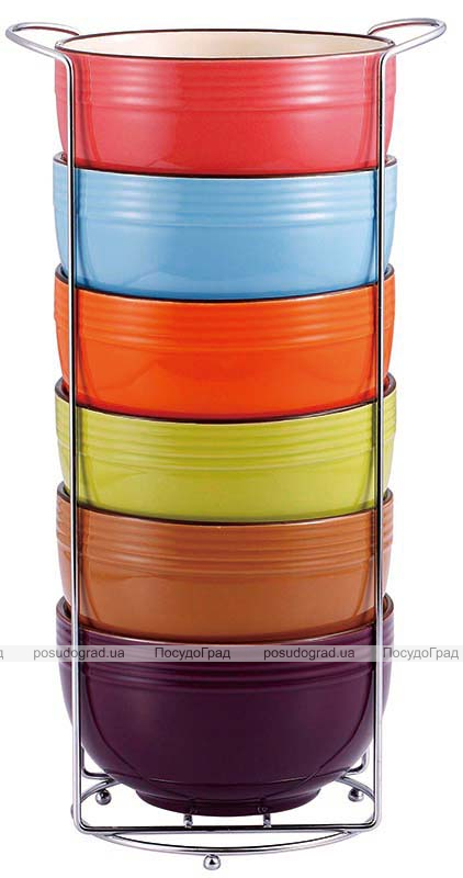 Набір піал Bergner Colore 750мл 6 піал на підставці