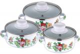 Набор 3 эмалированные кастрюли Wellberg Felicity 450мл, 800мл и 1200мл (Цветы)