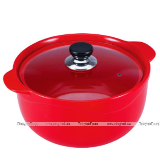 Кастрюля Wellberg Vigoroso Red 3.5л из огнеупорной керамики со стеклянной крышкой