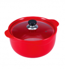 Кастрюля Wellberg Vigoroso Red 2.5л из огнеупорной керамики со стеклянной крышкой