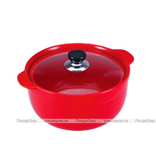 Кастрюля Wellberg Vigoroso Red 1.8л из огнеупорной керамики со стеклянной крышкой