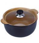 Кастрюля Wellberg Vigoroso Brown 3.5л из огнеупорной керамики со стеклянной крышкой