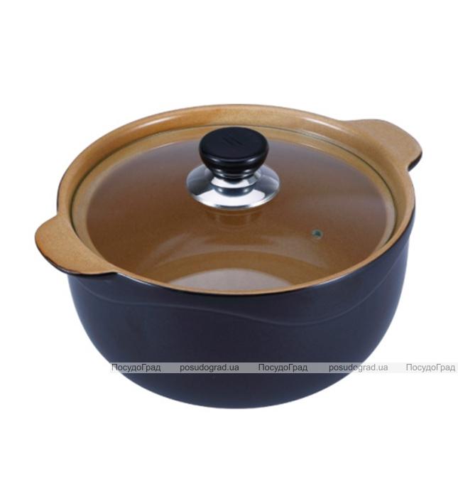 Кастрюля Wellberg Vigoroso Brown 2.5л из огнеупорной керамики со стеклянной крышкой