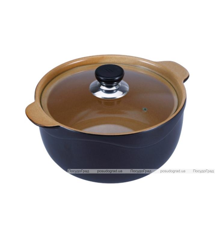 Кастрюля Wellberg Vigoroso Brown 1.8л из огнеупорной керамики со стеклянной крышкой
