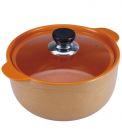 Кастрюля Wellberg Vigoroso Orange 3.5л из огнеупорной керамики со стеклянной крышкой