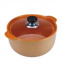 Кастрюля Wellberg Vigoroso Orange 2.5л из огнеупорной керамики со стеклянной крышкой