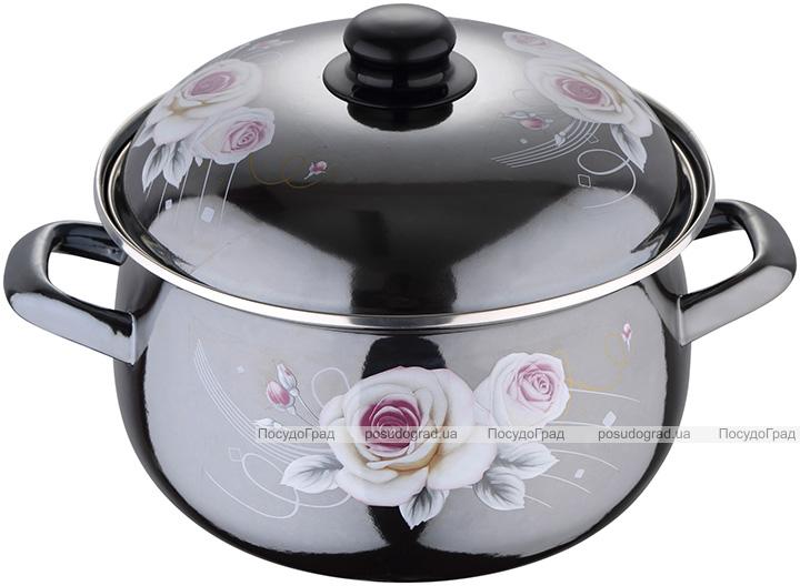 Каструля емальована Wellberg White Rose 6л, індукційна