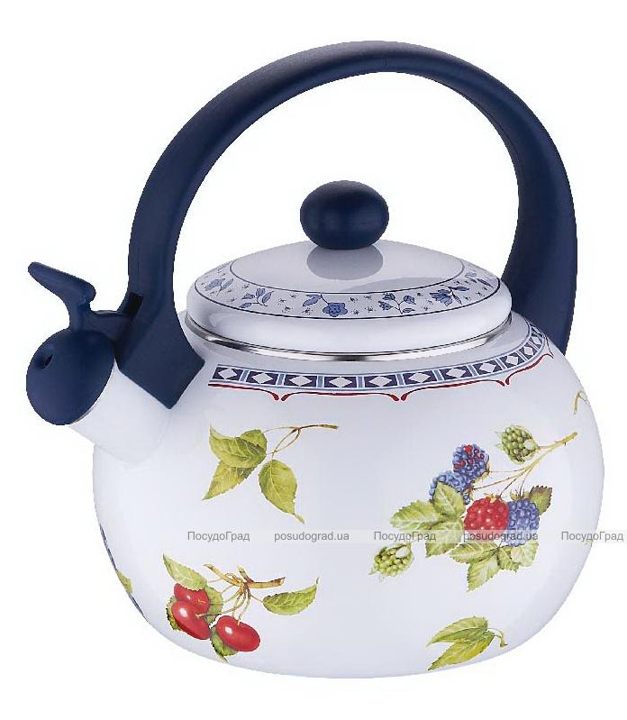 Чайник эмалированный Wellberg 2,2л со свистком Ягоды