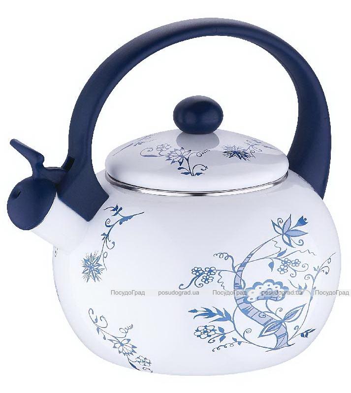 Чайник эмалированный Wellberg 2,2л со свистком Синий орнамент