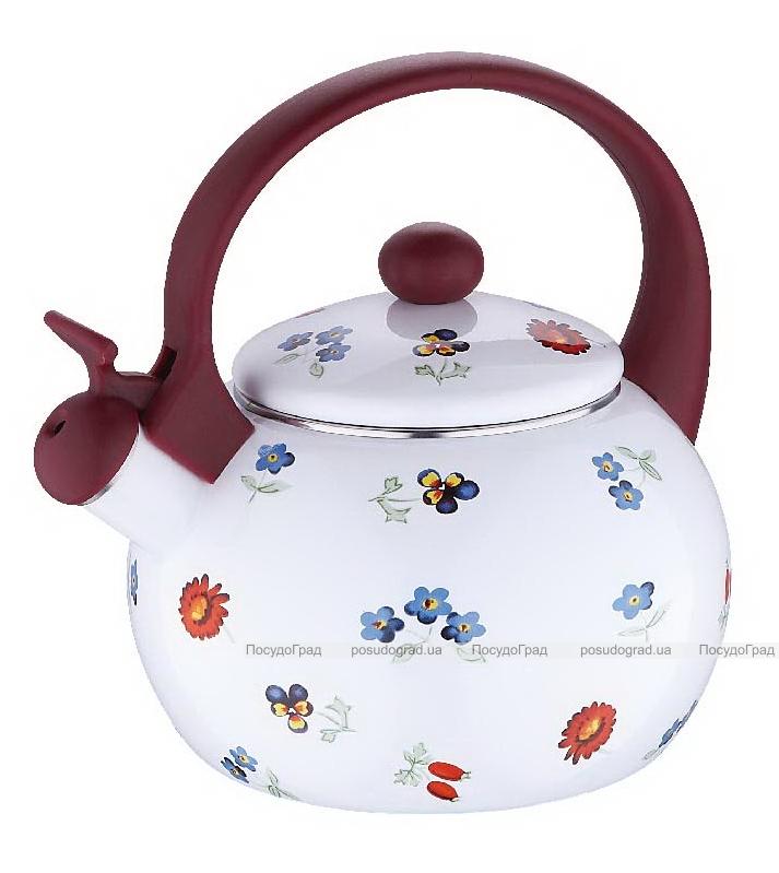 Чайник эмалированный Wellberg 2,2л со свистком Полевой цветок