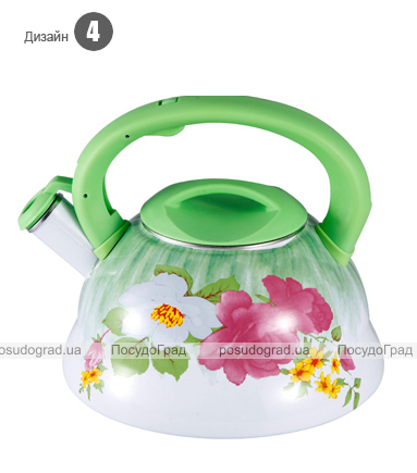 Чайник эмалированный Wellberg Potent 3л цветной со свистком