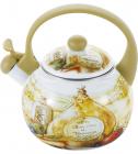 Чайник эмалированный Wellberg Gardenia 2.2л цветной со свистком