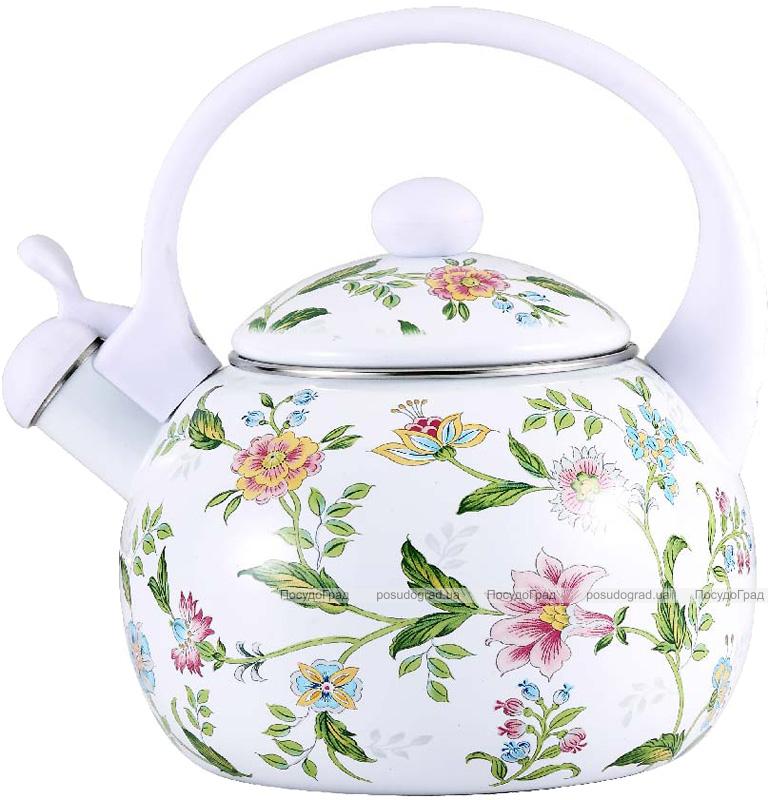 Чайник эмалированный Wellberg Gardenia-A 2.2л цветной со свистком