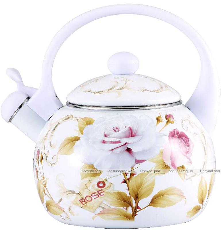 Чайник эмалированный Wellberg Gardenia-D 2.2л цветной со свистком