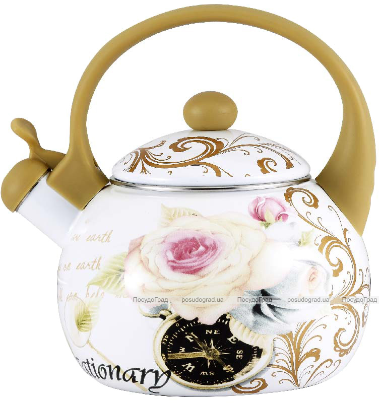 Чайник эмалированный Wellberg Gardenia-E 2.2л цветной со свистком