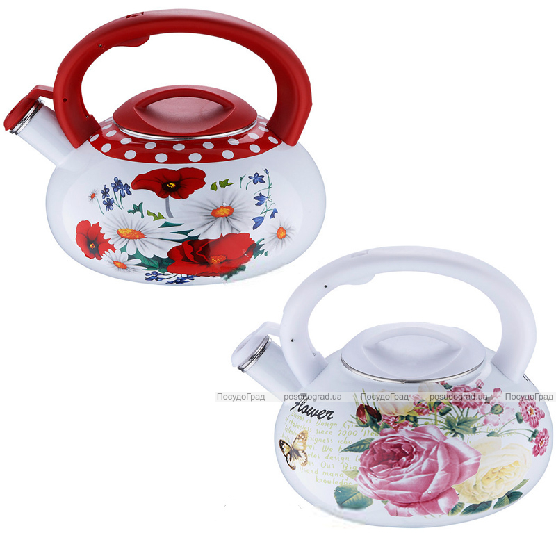 Чайник эмалированный Wellberg Enamel Red&White 3,2л со свистком