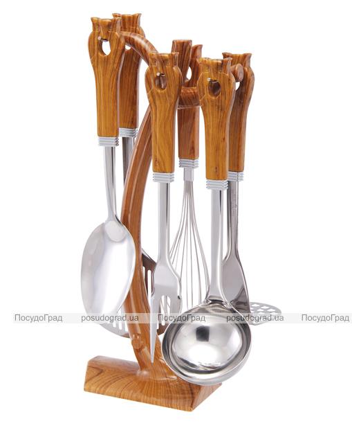 Кухонный набор Wellberg Wood 7 предметов, нержавейка + пластик 7