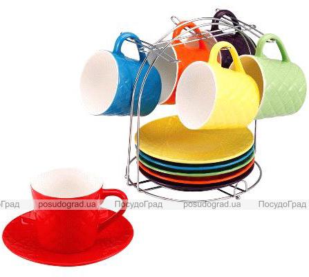 Чайный набор Wellberg Splendid 220мл 13 предметов на хромированной подставке