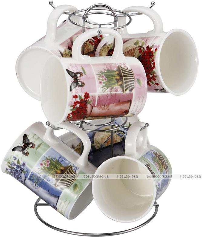 Набор 6 кружек Wellberg Breezy Цветы 280мл 7 предметов