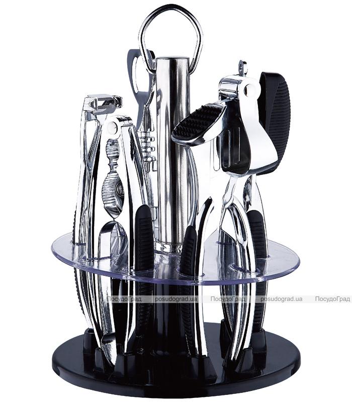 Набор кухонный Wellberg Barset на подставке 6 предметов. Зеркальный барсет