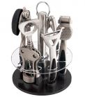 Набор кухонный Wellberg Barset на подставке 6 предметов. Никелированный барсет