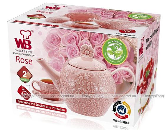 Чайник заварочный Pink Meadow 1л с крышкой