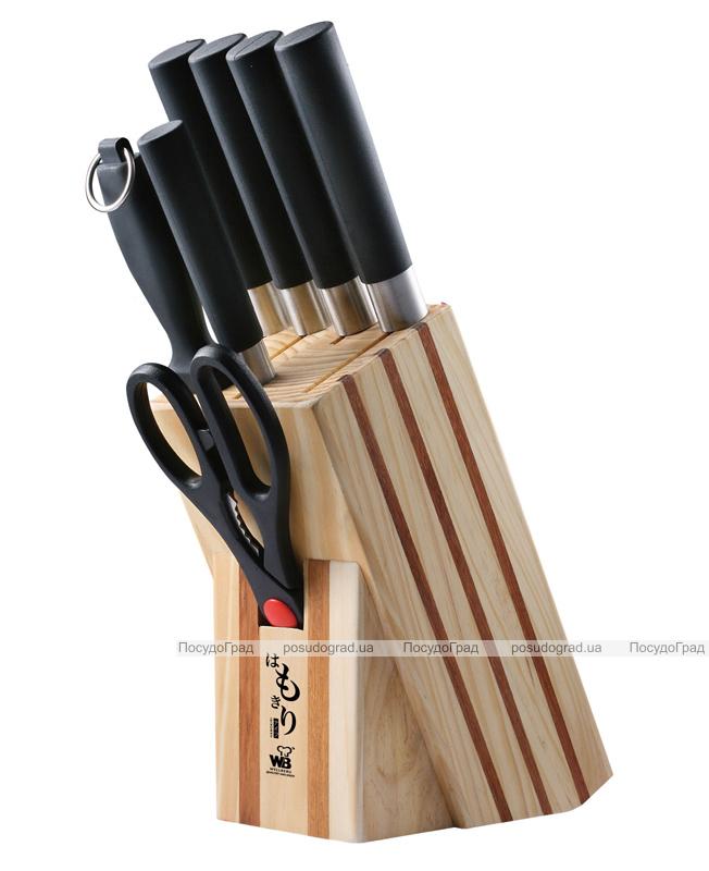 Набор ножей Wellberg 8 предметов Японский стиль на деревянной подставке