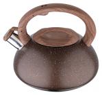Чайник Wellberg Whistling Мармур 3 літри зі свистком, коричневе мармурове покриття