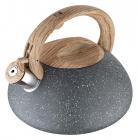 Чайник Wellberg Whistling Мармур 3 літри зі свистком, сіре мармурове покриття