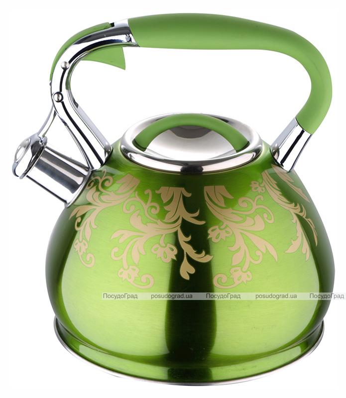Чайник Wellberg Flame 2.7л индукционный, со свистком, зеленый