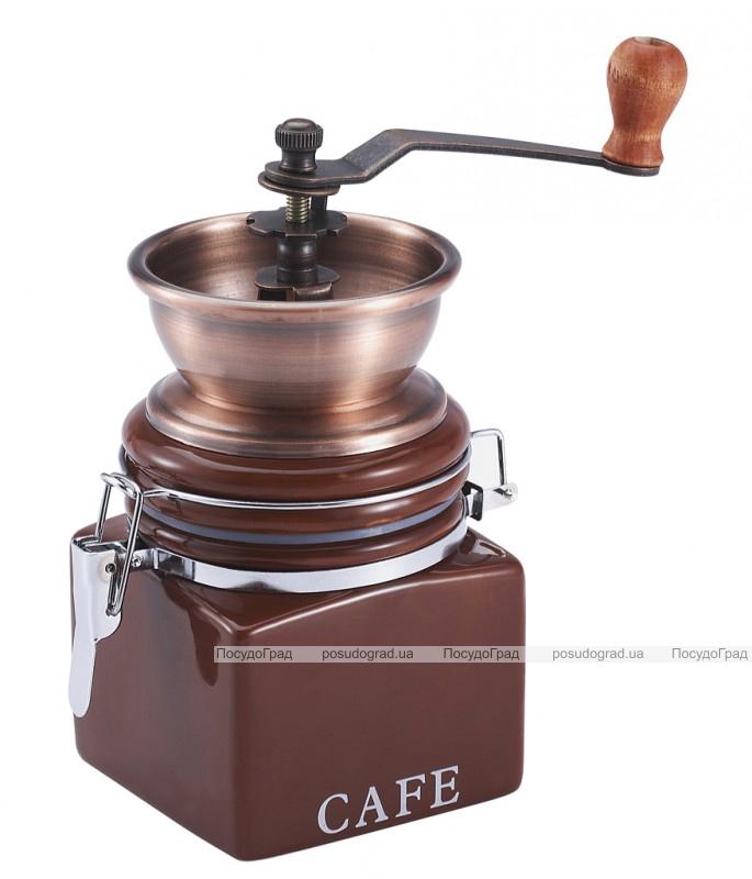 Кофемолка ручная Wellberg Cafe коричневая керамическая банка