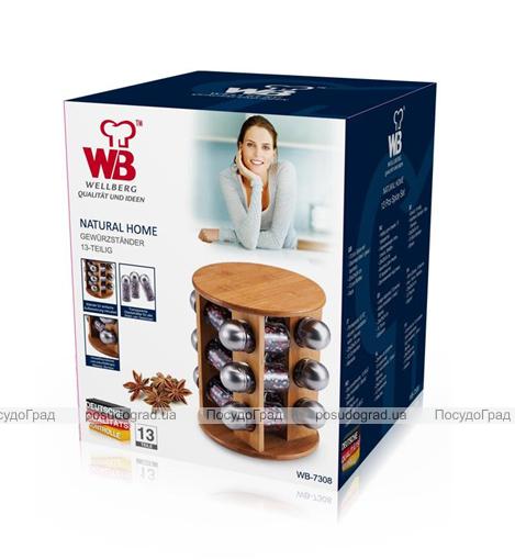 Набор для специй Wellberg Relish 12 емкостей и бамбуковая подставка