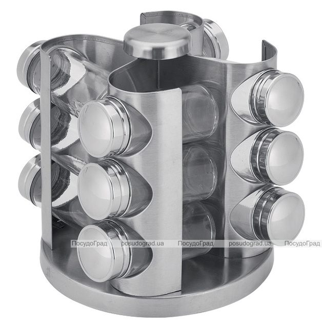 Набор для специй Wellberg 12 емкостей на металлической подставке