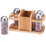 Набор для специй Wellberg Relish 4 емкости и бамбуковая подставка
