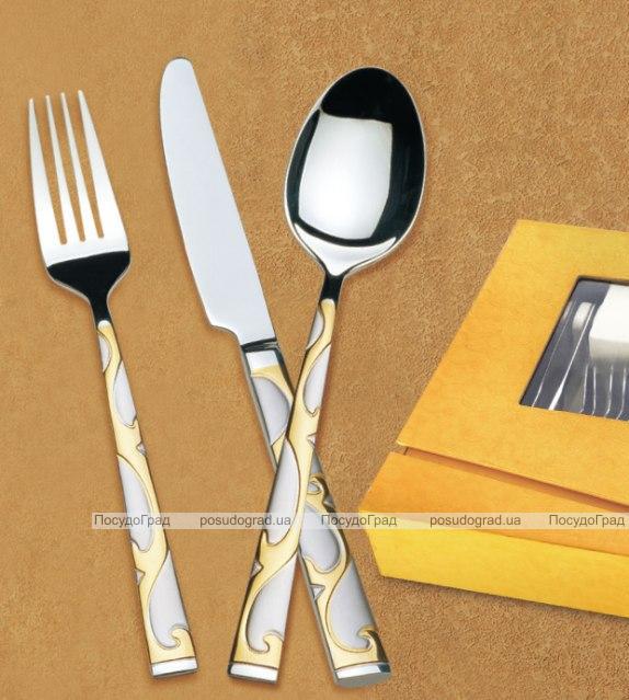 Набор столовых приборов Wellberg Lord 24 предмета, сатин и золото
