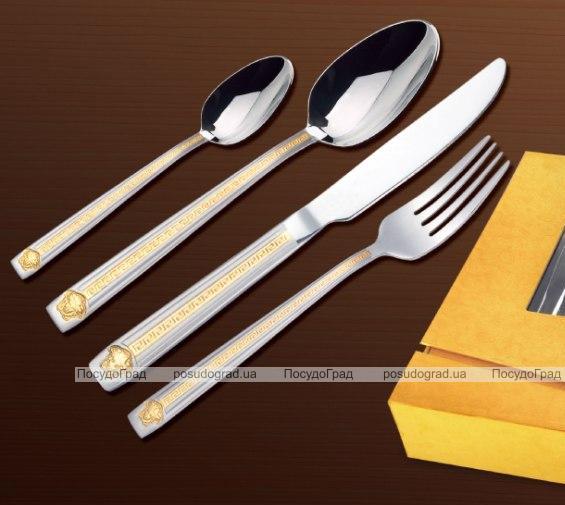 Набор столовых приборов Wellberg Victoria 24 предмета, сатин и золото