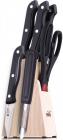 Набор кухонных ножей Wellberg Black Crystal 6 предметов на деревянной подставке