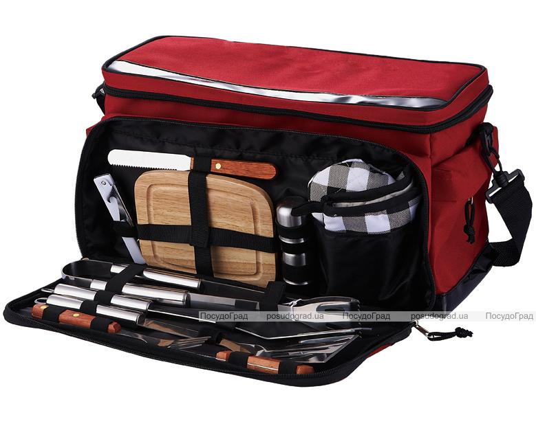Набор для барбекю Wellberg в красной сумке-холодильнике 11 предметов